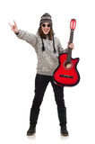Young optimistic girl holding guitar isolated on Stock Photos