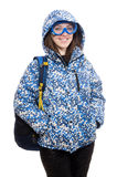 Young optimistic girl with rucksack isolated on Stock Image