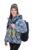 Young optimistic girl with rucksack isolated on Royalty Free Stock Images