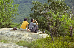 Young Oriental Couple at Overlook Stock Photo
