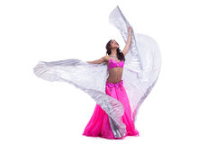 Young oriental in pink costume with wings Royalty Free Stock Images