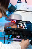 Modern fluorescent microscope Stock Photography
