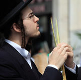 The young Orthodox Jew  before the Sukkot Stock Photos