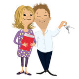 Young owners. Full  cartoon Royalty Free Stock Images