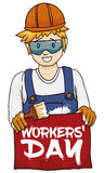 Young Painter Celebrating Workers' Day, Vector Illustration Royalty Free Stock Photos