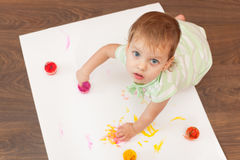 Young painter doesn't need a brush Stock Images