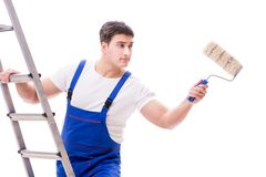 The young painter man with ladder isolated on white background Stock Photo