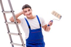 The young painter man with ladder isolated on white background Royalty Free Stock Photography