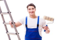 The young painter man with ladder isolated on white background Stock Photos
