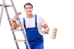 The young painter man with ladder isolated on white background Royalty Free Stock Image