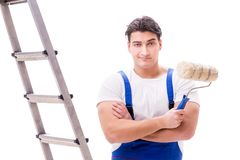 The young painter man with ladder isolated on white background Royalty Free Stock Photos