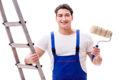 The young painter man with ladder isolated on white background Royalty Free Stock Images