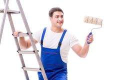 The young painter man with ladder isolated on white background Stock Image