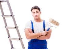 The young painter man with ladder isolated on white background Royalty Free Stock Photo