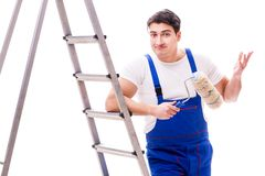 The young painter man with ladder isolated on white background. Young painter man with ladder isolated on white background Stock Photography