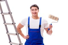 The young painter man with ladder isolated on white background. Young painter man with ladder isolated on white background Stock Photo
