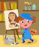 Young painter studio vector royalty free illustration