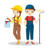 Young Painters With Tools, People Occupations stock illustration