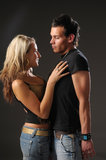 Young pair. The portrait of the attractive young loving pair Stock Images
