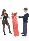 Young pair with the big gift Stock Photos