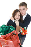 Young pair with the big gift Royalty Free Stock Image