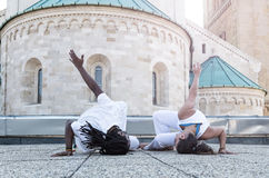 Young pair capoeira partnership ,spectacular sport Royalty Free Stock Photo