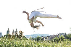 Young pair capoeira partnership ,spectacular sport.  Stock Photography