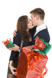 Young pair with the gifts Stock Photo