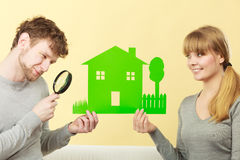 Young pair give attention to details. Royalty Free Stock Images