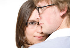 Young pair in glasses, man and woman on white Royalty Free Stock Photography