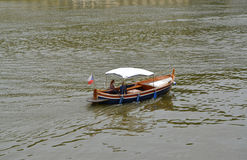 The young pair goes boating down the river to Vltava, the Czech Stock Photos