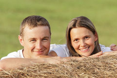 Young pair outdoors. Portrait Stock Image