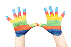 Young pair of painted hands Royalty Free Stock Image