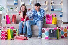 The young pair after shopping with many bags. Young pair after shopping with many bags Stock Photography