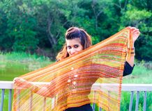 Young Pakistani model holding a scarf Royalty Free Stock Images