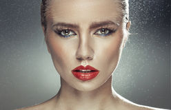 Young pale lady with natural big lips Royalty Free Stock Photos