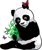 Young panda with a butterfly Stock Photography
