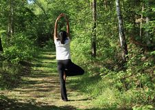 Girl exercising yoga - tree pose. Young Papuan woman - barefoot pretty girl exercising yoga tree pose on path in forest stock photos