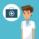 Young paramedic man clinic health suitcase cross Royalty Free Stock Photography