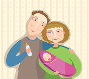 Young parents and the baby. Vector illustration Royalty Free Stock Images