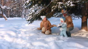 Young parents with a child playing in a winter stock footage