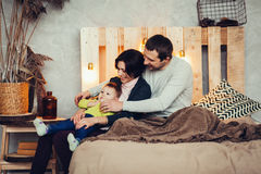 Young parents and child royalty free stock photos