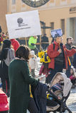 Young parents with children protest as Romania relaxes corruption law Royalty Free Stock Photography