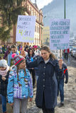 Young parents with children protesting as Romania relaxes corruption law Royalty Free Stock Photos