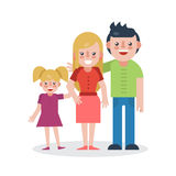 Young parents flat vector illustration. Young family on white background. Mother, father and daughter flat illustration. Family vector. Parents with child Royalty Free Stock Image