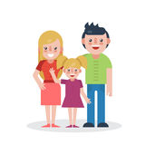 Young parents flat vector illustration. Mother, father and daughter on white background. Family flat style Royalty Free Stock Images