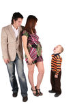 Young parents talking to son. On white stock photo