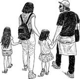 Young parents with their kids on a walk. Vector drawing of an young family on a stroll Stock Photo