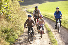 Free Young Parents With Children Ride Bikes In Park Royalty Free Stock Photos - 17489968