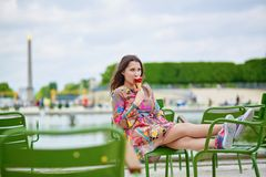 Young Parisian woman in the Tuileries garden Stock Photos